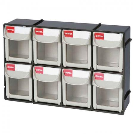 Flip Out Bin Set with 8 Compartments for Parts Storage - Sturdy flip out bin set with eight handy compartments.