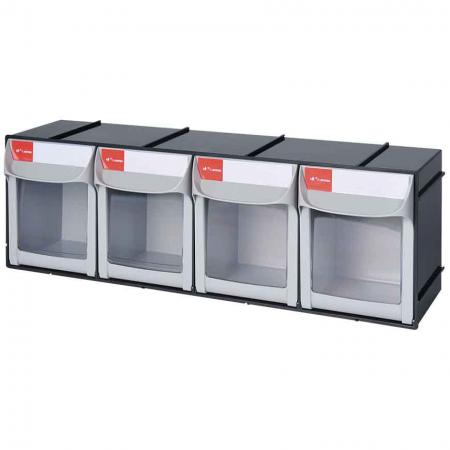 Tip Out Bin with 4 Compartments for Parts Storage - SHUTER Tip Out Bin with 4 Compartments for Parts Storage
