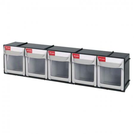 Flip Out Bin Set with 5 Compartments for Parts Storage