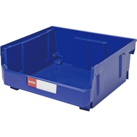 Contenedor apilable, anidado y colgante de 21L para almacenamiento de piezas - SHUTER le da la vuelta al diseño clásico de contenedor colgante con esta práctica solución de almacenamiento para la industria.