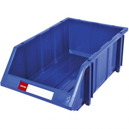16L Classic Series Stacking, Nesting & Hanging Bin for Parts Storage - SHUTER brings you a classic design that has been modified over the years to create a superior industrial hanging bin.
