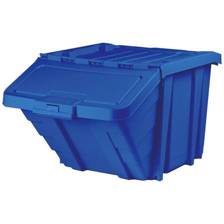 부품 및 재활용 보관을 위한 50L 클래식 시리즈 스태킹 및 네스팅 빈 - SHUTER의 내구성 있는 뚜껑이 있는 휴지통은 재활용, 쓰레기 또는 대형 부품 및 도구 보관에 이상적입니다.