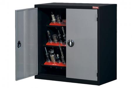 CNC Tool Storage Cabinets - Featuring specially designed holders for cylindrical or conical machine tools.