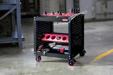 CNC Tool Storage Cart - SHUTER CNC tool cart with cutting holders for industrial storage settings