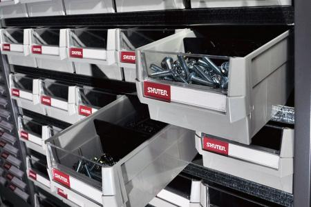 Cabinets for Tools and Small Parts - These parts cabinets feature SHUTER exclusive drop-stop ABS or PS drawers.