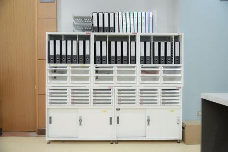 Steel Cabinet with plastic drawers - Desktop or wall-mountable document storage systems for home and office use.