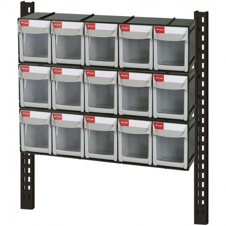 FO bins can be added to the pegboard siding or backboard of a SHUTER tool cart.