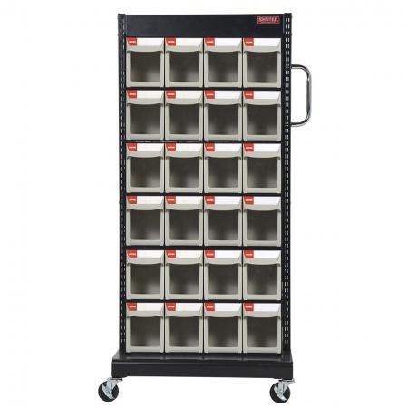 Single-Sided Mobile Stand on Casters with 6 Sets of 4 Flip Out Bin Drawers