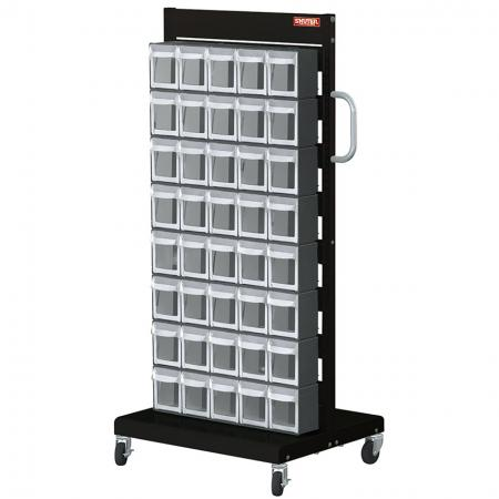 Single-Sided Mobile Stand on Casters with 8 Sets of 5 Flip Out Bin Drawers