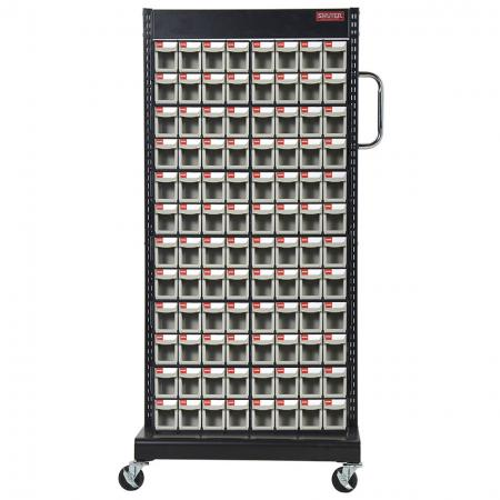 Single-Sided Mobile Stand on Casters with 12 Sets of 8 Flip Out Bin Drawers - Flip out bins mounted on a mobile stand to create the very best solution on the market for small parts storage.