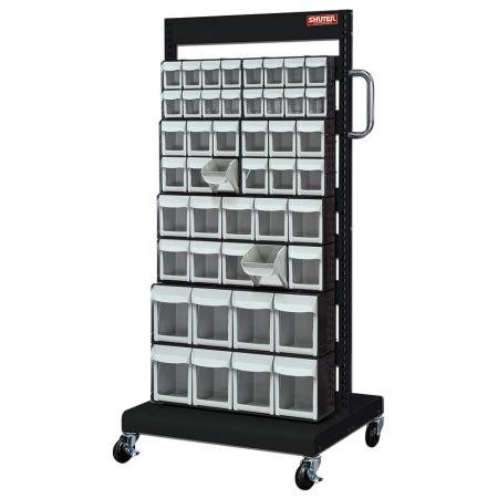 Single-Sided Mobile Stand on Casters with 8 Sets of Mixed Size Flip Out Bin Drawers - A rack-and-wheel system that sorts SHUTER mobile flip out bins for the most efficient storage systems available.