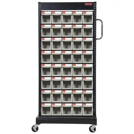 Double-Sided Mobile Stand on Casters with 16 Sets of 5 Flip Out Bin Drawers - With four sturdy casters, this double-sided mobile flip out bin cart can be easily moved anywhere around a workspace.