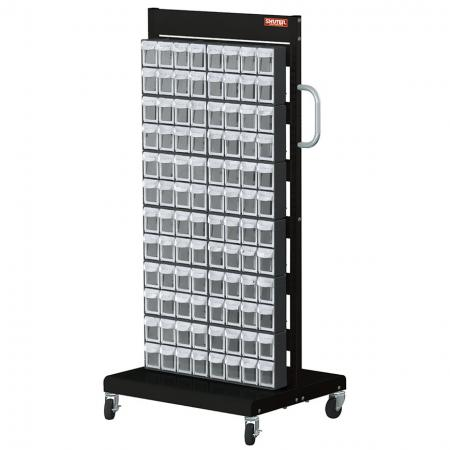Double-Sided Mobile Stand on Casters with 24 Sets of 8 Flip Out Bin Drawers