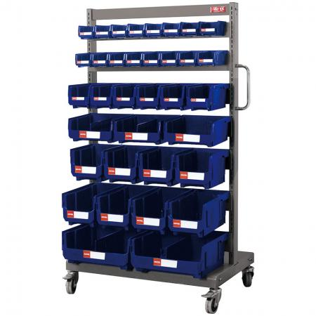 Single-Sided Mobile Stand on Casters with 35 Mixed Size Hanging Bins - Matching bins grace this super strong steel mobile stand for industrial small parts storage.