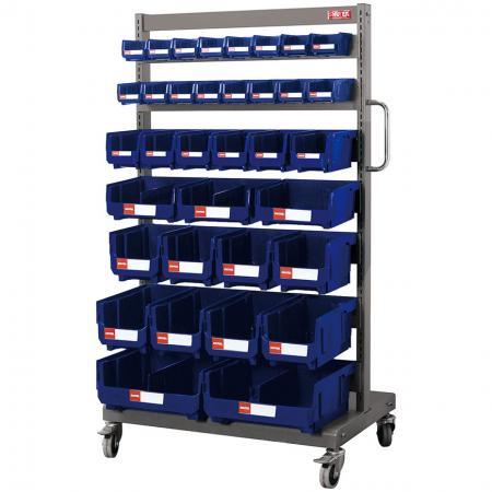 Односторонняя мобильная подставка на роликах с 35 подвесными ящиками разного размера - Подходящие бункеры украшают эту сверхпрочную стальную передвижную подставку для промышленного хранения мелких деталей.