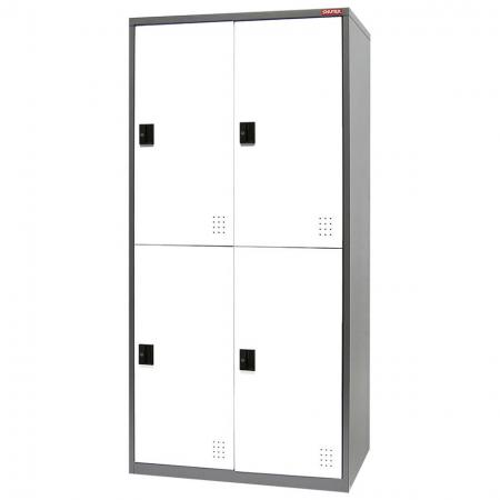 Metal Locker for Secure Storage - 4 Doors in 2 Columns - Steel locker unit with four lockable doors to use for storing personal possessions.