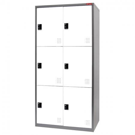 Digital Metal Locker for Secure Storage - 6 Doors in 2 Columns - Personal lockers for the storage of everything from uniforms for expensive tools.