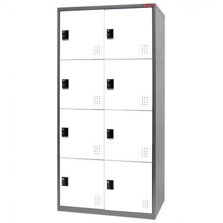 Digital Metal Locker for Secure Storage - 8 Doors in 2 Columns - Workers office storage day lockers made of high quality galvanized steel.