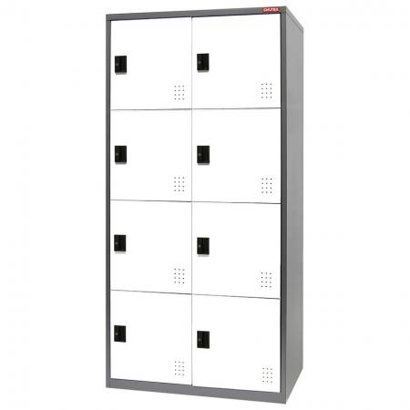 Metal Locker for Secure Storage - 8 Doors in 2 Columns - Steel cabinets for use as a wardrobe or large item storage in home, office, or industrial settings.
