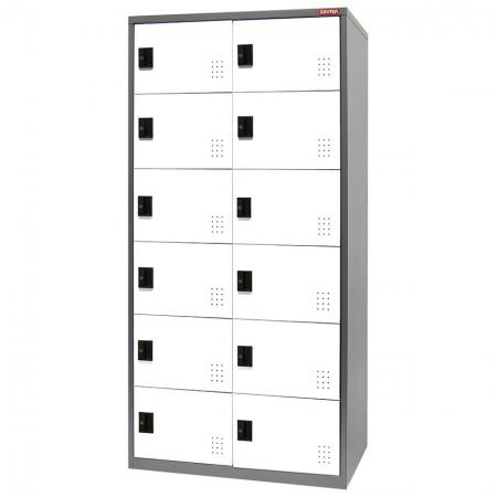 Metal Locker for Secure Storage - 12 Doors in 2 Columns - Use these lockers for the storage of expensive, precious or personal items: fits into retail spaces.