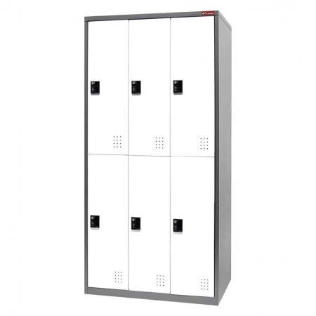 Metal Storage Locker, Double Tier, 6 Compartments - Metal Storage Locker, Double Tier, 6 Compartments
