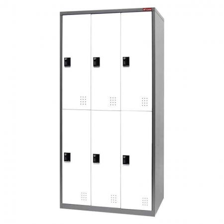 Digital Metal Locker for Secure Storage - 6 Doors in 3 Columns - Large or small items can be safely stashed in these optimal steel lockers.