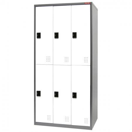 Metal Locker for Secure Storage - 6 Doors in 3 Columns - Traditional metal locker with great new features like ventilation and customizable door colors.