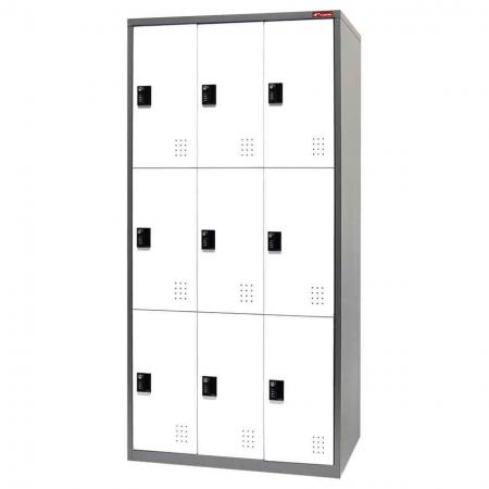 Metal Storage Locker, Triple Tier, 9 Compartments