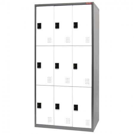 Metal Locker for Secure Storage - 9 Doors in 3 Columns - A new style of secure steel locker with high quality powder coated metal, keys, and handy labels.