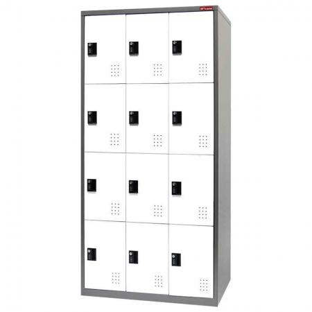 Metal Storage Locker, 4 Tier, 12 Compartments - Metal Storage Locker, 4 Tier, 12 Compartments