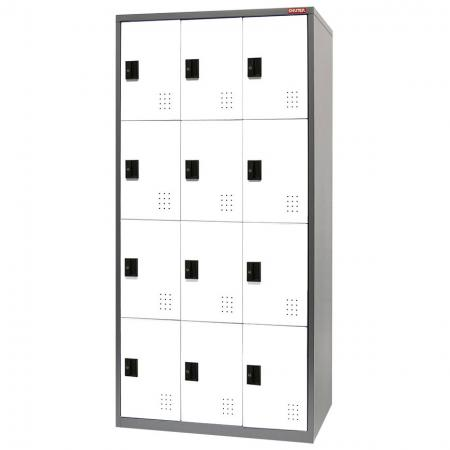 Metal Locker for Secure Storage - 12 Doors in 3 Columns - The very best tower-style metal lockers for your home, office or factory.
