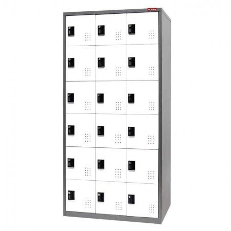 Digital Metal Locker for Secure Storage - 18 Doors in 3 Columns - Lockable organizer storage for kid's, gym changing rooms or industrial staff rooms.