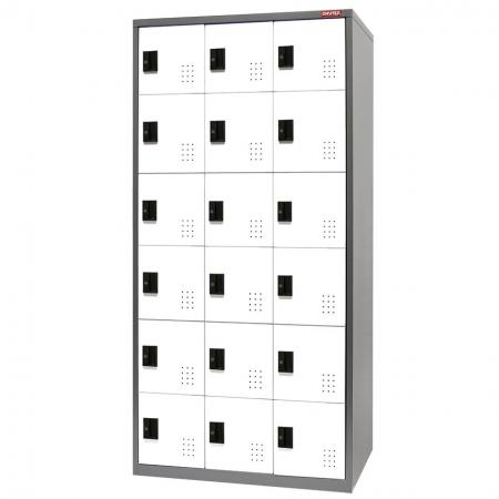 Metal Locker for Secure Storage - 18 Doors in 3 Columns - The best steel lockers on the market, blending traditional features like labels with innovative ideas like digital locks.