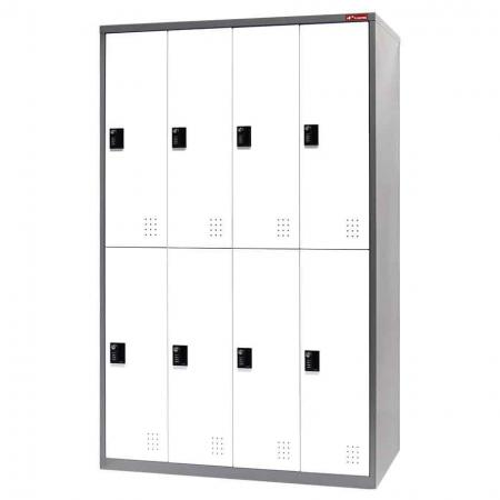 Metal Storage Locker, Double Tier, 8 Compartments - Metal Storage Locker, Double Tier, 8 Compartments