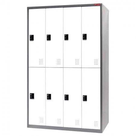 Metal Storage Locker, Double Tier, 8 Compartments