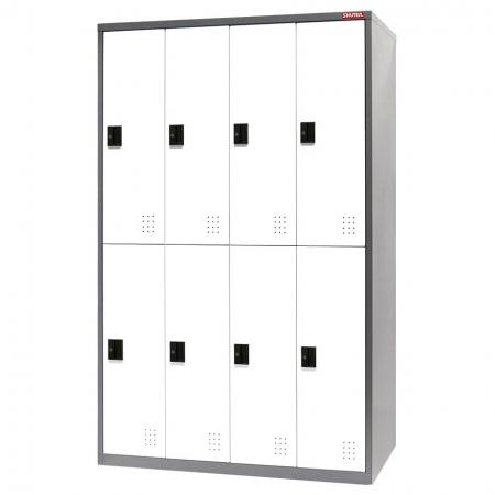 Metal Locker for Secure Storage - 8 Doors in 4 Columns - Steel tower lockers from SHUTER for home, office or industrial use as a wardrobe or large-scale storage.