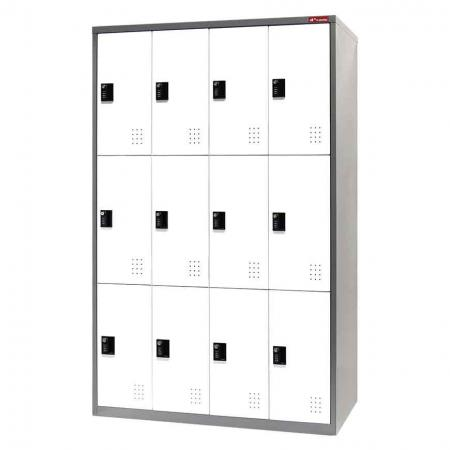 Digital Metal Locker for Secure Storage - 12 Doors in 4 Columns - Stable, fully-welded steel storage cabinet with lockable doors.