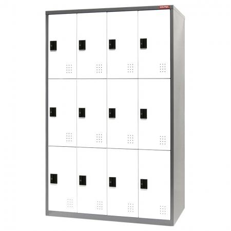 Digital Metal Locker for Secure Storage - 12 Doors in 4 Columns - Steel tower lockers can be used in warehousing or for commercial or industrial use.