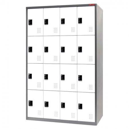 Metal Storage Locker, 4 Tier, 16 Compartments
