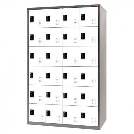 Metal Storage Locker, 6 Tier, 24 Compartments - Metal Storage Locker, 6 Tier, 24 Compartments