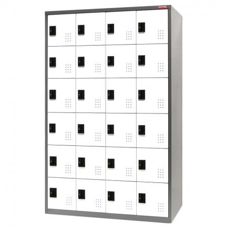 Metal Locker for Secure Storage - 24 Doors in 4 Columns - Commercial storage space steel tower locker for large storage systems in residential apartments.
