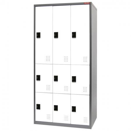Metal Mixed Locker for Secure Storage - 9 Doors in 3 Columns - Innovative lockers to help office workers and managers alike better organize their staff rooms.