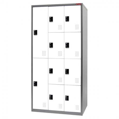 Digital Metal Mixed Locker for Secure Storage - 10 Doors in 3 Columns - Box-style metal lockers with storage space for each individual, from staff to visitors.