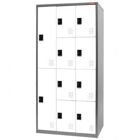 Metal Mixed Locker for Secure Storage - 10 Doors in 3 Columns - Look to SHUTER for cabinets with customizable locker door colors, ventilation, and labels.
