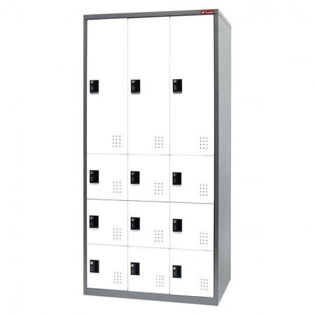 Digital Metal Mixed Locker for Secure Storage - 12 Doors in 3 Columns - Steel tower general-purpose storage cabinet for stowing away your expensive or personal possessions.