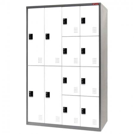 Digital Metal Mixed Locker for Secure Storage - 12 Doors in 4 Columns - Metal cabinets with digital passcode lock for safe and secure document storage.