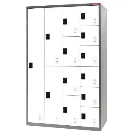Metal Mixed Locker for Secure Storage - 13 Doors in 4 Columns - Gym room locker for personal storage for staff, visitors or other kinds of people.
