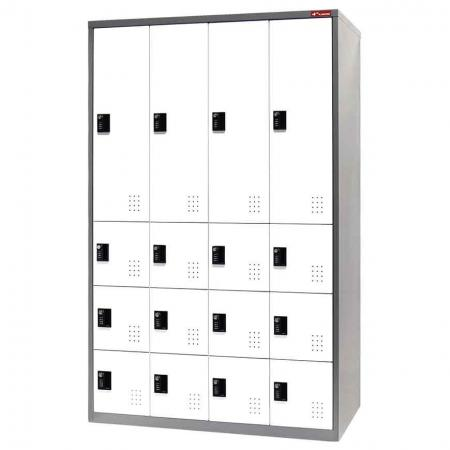 Digital Metal Mixed Locker for Secure Storage - 16 Doors in 4 Columns - Wardrobe system with digital lock for large item storage in the office.