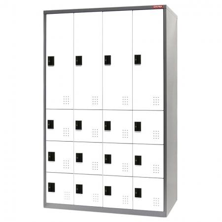 Metal Mixed Locker for Secure Storage - 16 Doors in 4 Columns - Leisure centre changing room lockers and cabinets.
