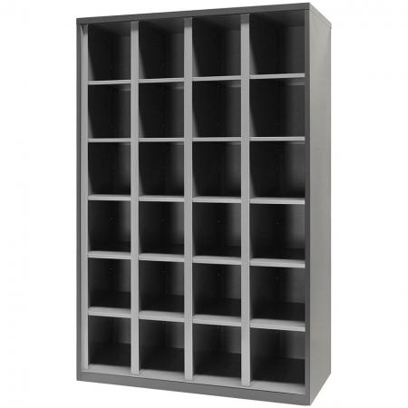 Metal Open Storage Cabinet for Secure Storage - 24 Cubbies in 4 Columns - Public facility storage solutions for every working environment.